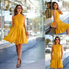 Womens Sleeveless Loose Pleated Mini Dress with Belt Poket Casual Party Evening