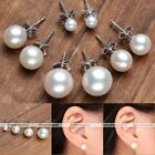 Natural Freshwater Pearl White Cream 925 Sterling Silver Ear Stud Earrings Gift