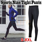 Womens Compression Skin Tight Yoga Pants Legging Lightweight Sports Gym Black