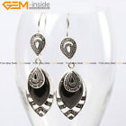 18x32mm Marquise Stone Rivets Beads Silver Plated Dangle Earrings with Gift Box
