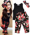 New 3Pcs Baby Girls Flower Print T-shirt + Pants + Hairband Clothes Set Outfits