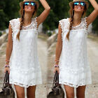 Women's Summer Casual Sleeveless Evening Party Beach Dress Mini Lace Dress
