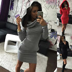UK Popular Women's Gray Casual Bodycon Sport Hoodies Party Cocktail Mini Dress