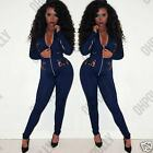 Womens Navy Lace Insert Bodycon Zip Up Front Sexy Jumpsuit