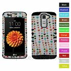 For LG K7, Tribute 5 Colorful Hearts Hybrid Hard&Rubber Rugged Armor Phone Case