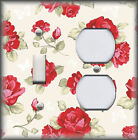 Metal Light Switch Plate Cover Red Roses Light Cream Butterflies Red Rose Decor