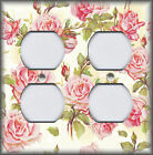 Floral Home Decor Metal Light Switch Plate Cover Shabby Chic Pink Roses On Cream