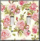 Floral Home Decor - Light Switch Plate Cover - Shabby Chic Pink Roses On Cream