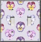 Floral Home Decor - Light Switch Plate Cover Pansies On Light Purple - Pansy