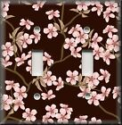 Floral Home Decor - Light Switch Plate Cover - Pink Cherry Blossoms On Brown
