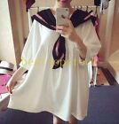 Women Loose Cosplay sailor suit White Black Bow Color Stitching Long Shirt Sweet