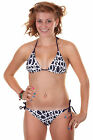 BNWT Roxy 'Wake Up' Bikini Set, Sz L UK 12 EU 40 Swimwear, Navy