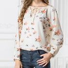 Womens Fashion Casual Shirt Chiffon Floral Dove Print T-Shirt Blouse Long Sleeve