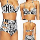 2016 New Women High Waist Sexy Bikini Set Push-up Halterneck Swimsuit Swimwear F
