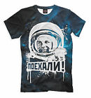 """T-shirt russian soviet cosmonaut Gagarin and him phrase before start """"Lets GO"""""""