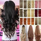 """24""""26""""Thick 3/4 Full Head Clip In Ombre Highlight Hair Extensions Long Curly AN3"""