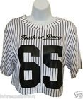 Ladies Women's Baseball 65 Print Short Sleeves Stripy Crop Top T-Shirt