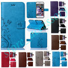 For Samsung Butterfly Embossed Wallet Card Flip PU Leather Case Kickstand Cover