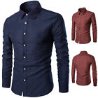 Mens Luxury Stylish Casual Dress Slim Fit T-Shirts Casual Long Sleeve Shirts New