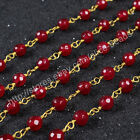 16Ft 5~6mm Red Agate Sead Beads Wire Wrapped Rosary Beaded Link Chain DIY HJT075