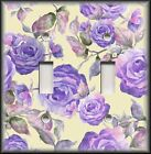 Light Switch Plate Cover - Purple Roses On Pale Yellow - Floral Home Decor Rose