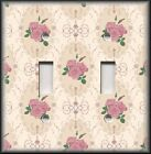 Light Switch Plate Cover - Victorian Floral Home Decor - Pink Roses On Tan