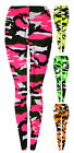 Girls Full Length Neon Camo Legging New Kids Vibrant Print Pants Ages 7-13 Years