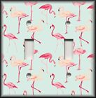 Light Switch Plate Cover - Tropical Birds Home Decor - Pink Flamingos On Blue