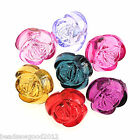 12 LUCITE PLASTIC ROSE FLOWER BEAD BUTTONS 16mm Crafts Jewellery Making