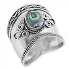 Bali Design with Abalone Stone .925 Sterling Silver Ring Sizes 5-12