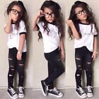 2pc Baby Girls Kids Short Sleeve T-shirt Ripped Pants Outfits Clothes Set Summer