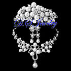White Pearls & Clear Crystal Rhinestones Neklace & Earring Clip On & Crown/Tiara