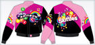 Skittles Ladies Jacket Taste The Rainbow Colorful Skittles Pink Black NEW