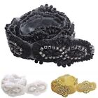 1 Yard Handmade Beaded Clear Rhinestone Costume Sew Iron On Applique Trims NEW