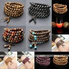 6/8mm Charm Natural Wooden Round Beaded Chain Wristband Bracelet Mens Womens