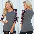 Women Jumper Blouse Tops Pullover Shirts Floral T-shirt Patchwork Bottoming UK