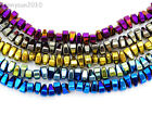 "Natural Hematite Gemstone 4mm x 6mm Freeformed Loose Beads 15.5"" Metallic Colors"