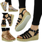 NEW WOMENS LADIES GLITTER LOW WEDGE HEEL PLATFORM ESPADRILLES SHOES SANDALS SiZE