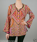 Tolani Lolita Silk Printed Tunic Blouse Top in Flush  8555