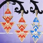 2x Punk Enamel Gold Tone Metal Triangle Geometric Dangle Earrings Ear Stud Boho