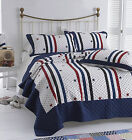 Stars & Stripes Bedspread Quilt Comforter Throw White Blue Red + Pillow Shams
