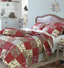 Floral Patchwork Bedspread Quilt Comforter Throw Red  Cream + Pillow Shams NEW