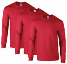 NEW MENS 3 PACK PLAIN LONG SLEEVE COTTON GILDAN T-SHIRT in RED Tshirt tees