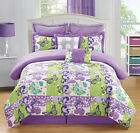 12 Piece Butterfly Purple/Green Bed in a Bag Set
