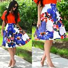 WOMEN STRETCH HIGH WAIST PLAIN SKATER FLARED PLEATED SWING LONG MIDI SKIRT DRESS
