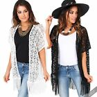 Womens Retro Boho Lace Kimono Hippie Fringe Coat Jacket Cape Blazer Blouse Top