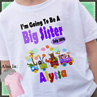 TRAIN I'M GOING TO BE A BIG SISTER SHIRT PERSONALIZED NAME SAFARI ZOO ANIMAL