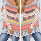 Sexy Women Casual Stripe Floral Lace Long Sleeve T-Shirt Ladies Loose Blouse Top