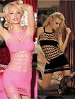 Open Net Solid Panel Mini Dress Chemise Black or Hot Pink One Size Shirley 90214