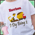 I DIG BEING CONSTRUCTION BIRTHDAY SHIRT PERSONALIZED NAME AGE DIGGER DUMPTRUCK